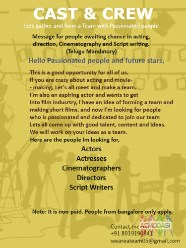 Cast & Crew call- Only Bangalore based people